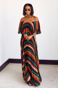 Elodie Off The Shoulder Striped Maxi