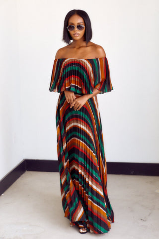 PreOrder Elodie Off The Shoulder Striped Maxi