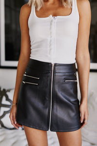 Asher Daniel Faux Leather Skirt