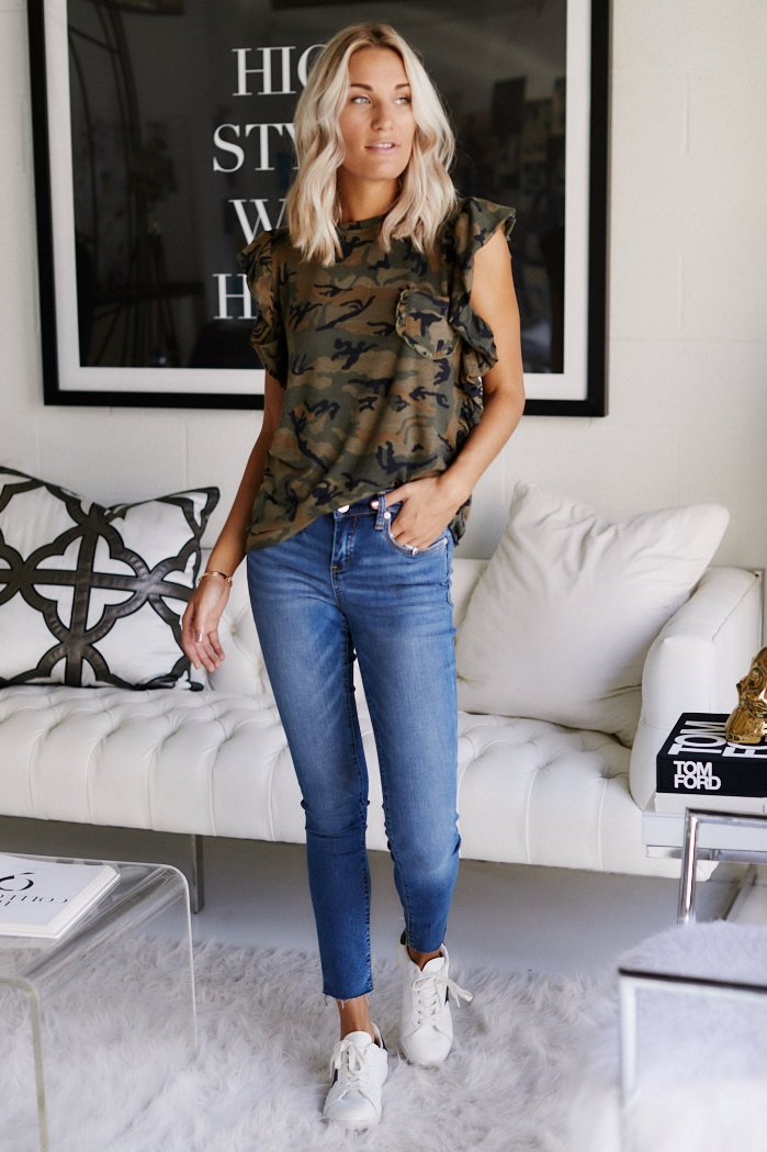 fab'rik - Raina Ruffled Camo Tank ProductImage-11347653722170