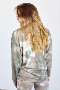 SALE - Bexley Tie Dye Brushed Long Sleeve Crew