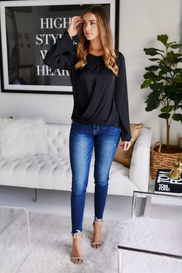 Rhys Surplice Long Sleeve Blouse
