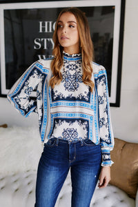 Lonita High Neck Printed Blouse