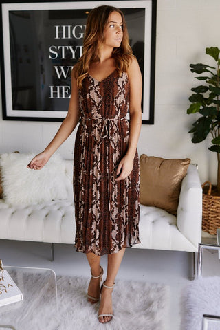 Zola Snake Print Pleated Midi Dress