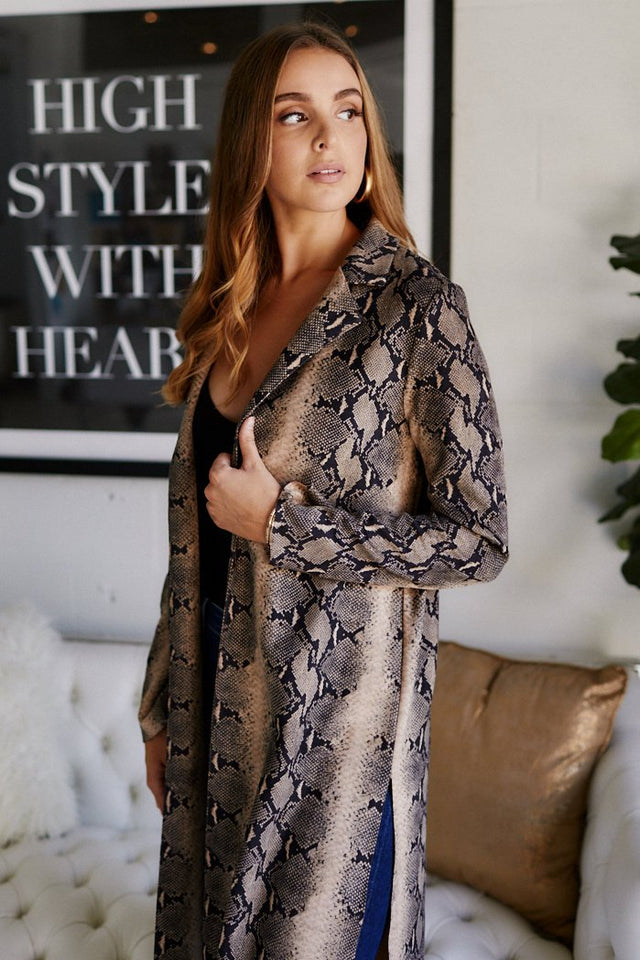 Aaliyah Python Printed Duster