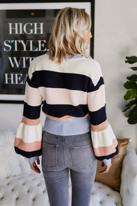 Justice Striped Balloon Sleeve Sweater