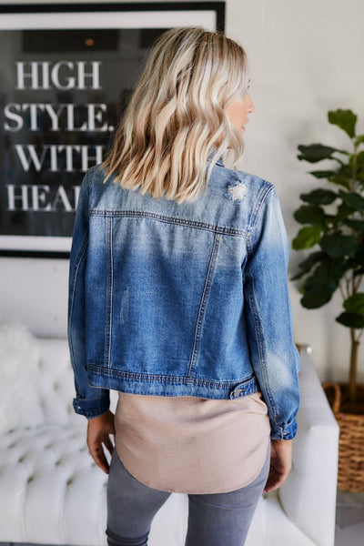fab'rik - Karla Distressed Denim Jacket image thumbnail