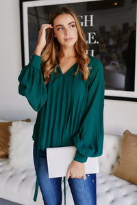 Eden Pleated Long Sleeve Blouse