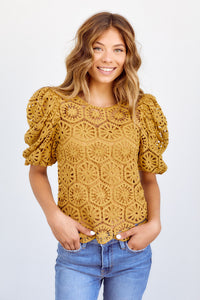 PreOrder Athena Puff Sleeve Crochet Top