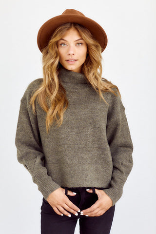 Seville Puff Sleeve Turtleneck Sweater