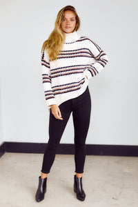 SALE - Indie Fluffy Knit Stripe Sweater