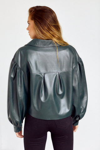 Lorilynn Puff Sleeve Faux Leather Jacket
