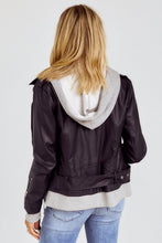 Load image into Gallery viewer, Talon Hooded Faux Leather Jacket