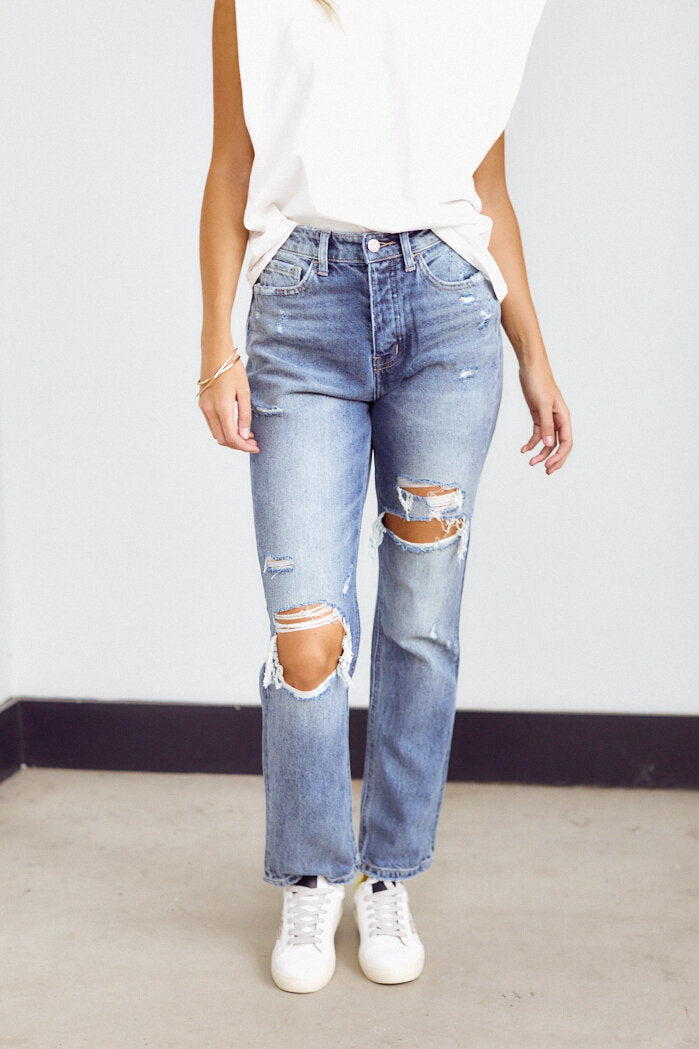 fab'rik - PreOrder Andova Super High Rise Distressed Straight Leg Denim ProductImage-14211131244602