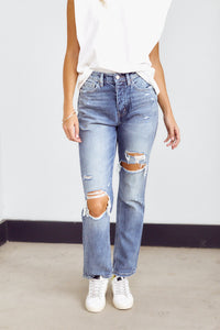 PreOrder Andova Super High Rise Distressed Straight Leg Denim