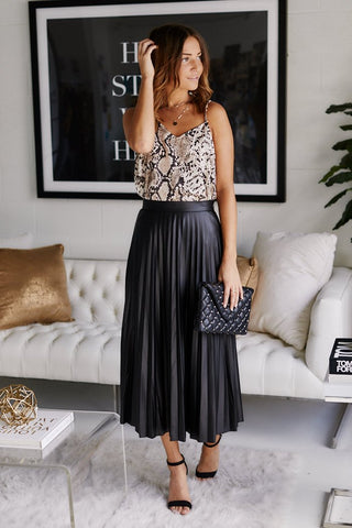 Bette Pleated Faux Leather Midi Skirt