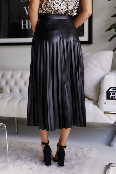 fab'rik - Bette Pleated Faux Leather Midi Skirt image thumbnail
