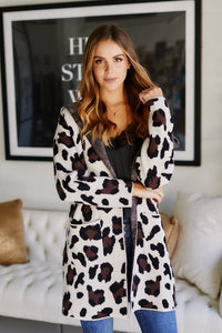 Mcclaine Hooded Leopard Cardigan