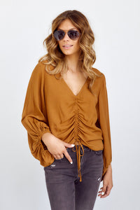 PreOrder Paige Front Tie Shirring Top