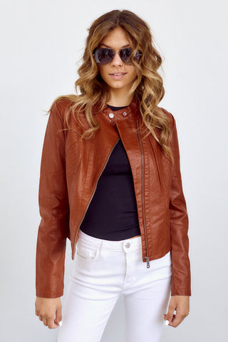 PreOrder Betsey Stich Detail Faux Leather Jacket