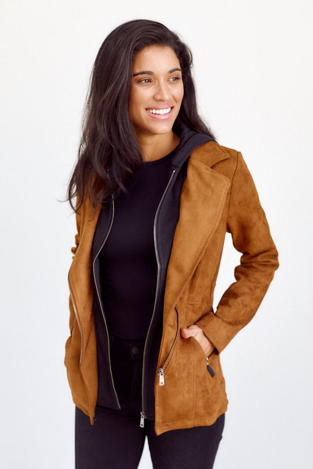 Carley Faux Suede Hooded Jacket