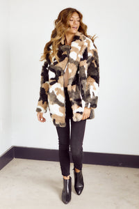 Pricilla Marbled Faux Fur Jacket