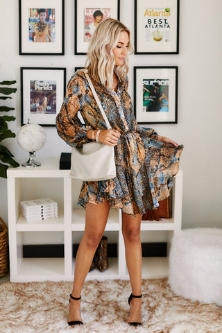 PreOrder Allie Snake Print Long Sleeve Dress