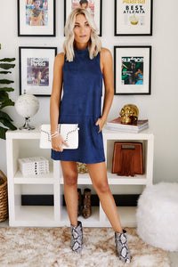 Remy Mock Neck Suede Shift Dress