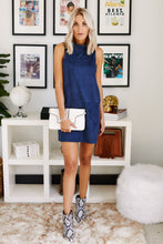 Load image into Gallery viewer, Remy Mock Neck Suede Shift Dress