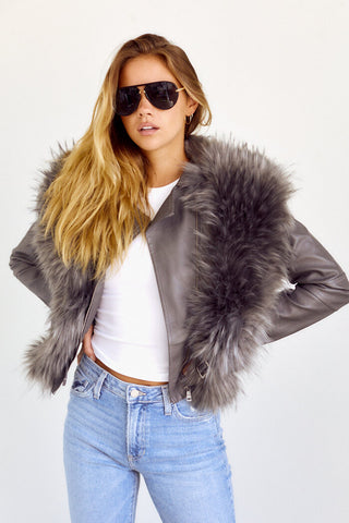 PreOrder Elanor Fur Detail Faux Leather Jacket