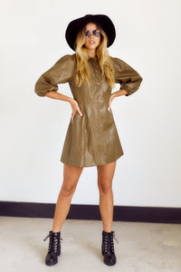 Maisie Faux Leather Puff Sleeve Dress