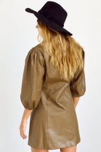 Load image into Gallery viewer, SALE - Maisie Faux Leather Puff Sleeve Dress