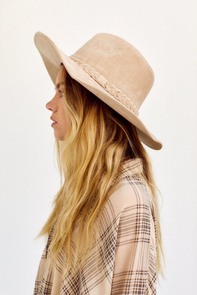 Morena Braided Faux Suede Hat