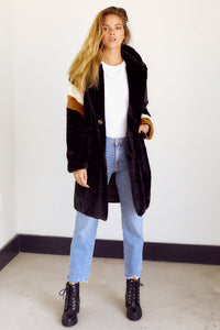 Bentley Stripe Faux Fur Jacket