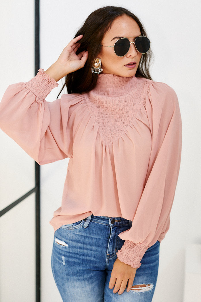 fab'rik - Willa Smocked Detail Long Sleeve Blouse ProductImage-11458715680826