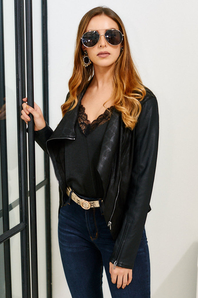 Blank NYC Venom Faux Leather Drape Front Jacket