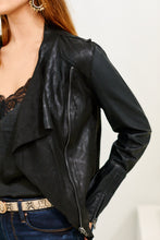 Load image into Gallery viewer, Blank NYC Venom Faux Leather Drape Front Jacket