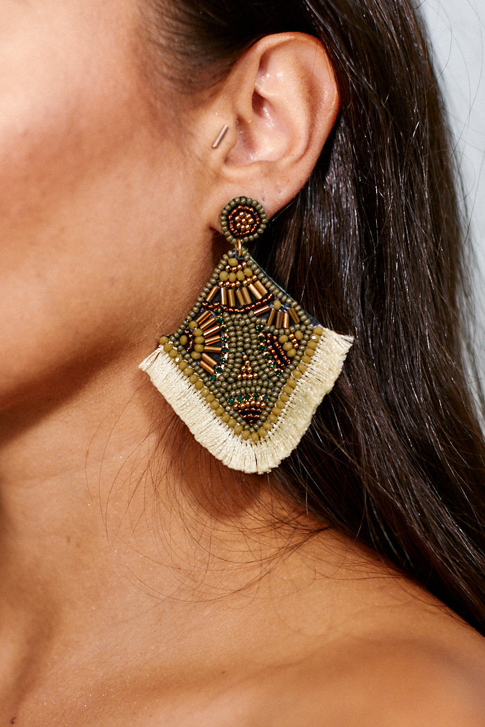 fab'rik - Beaded Rhombus Tassel Earrings ProductImage-11456008060986