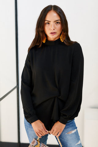 Atlas Mockneck Side Knot Detail Blouse