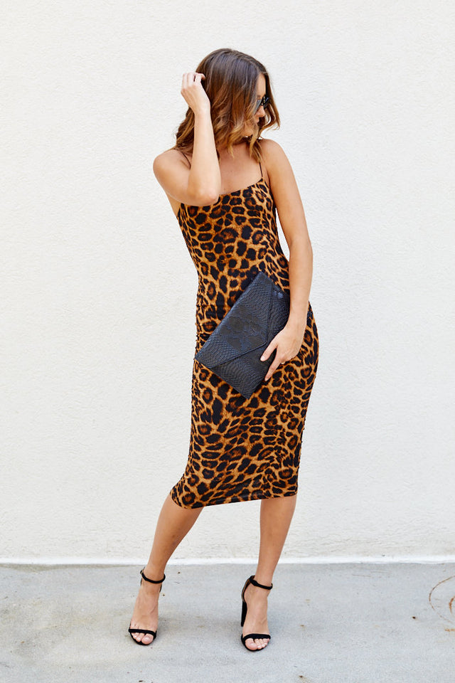 Asher Caroline Leopard Midi Dress