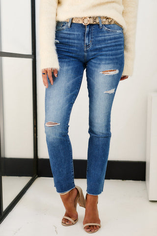 Crave High Rise Slim Straight Denim