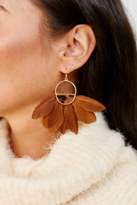 fab'rik - Half Disc & Feather Tassel Earrings ProductImage-11455991218234