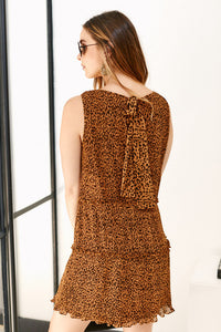 Rosa Leopard Pleated Mini Dress