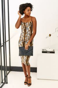 Asher Caroline Snakeskin Midi Dress