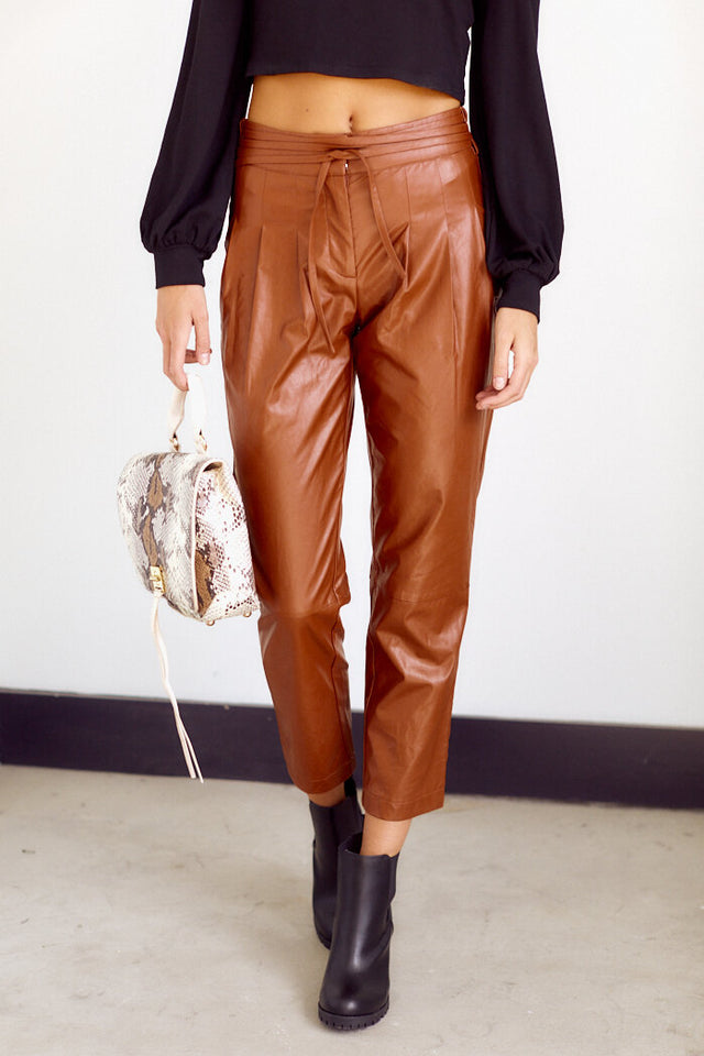 PreOrder Leta Faux Leather Cropped Pants