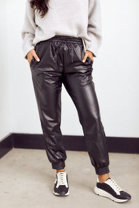 Delia Faux Leather Jogger