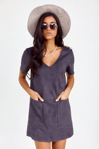 Scarlett Mirco Suede V Neck Dress