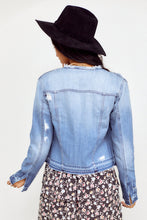 Load image into Gallery viewer, Jackson Collarless Distressed Denim Jacket