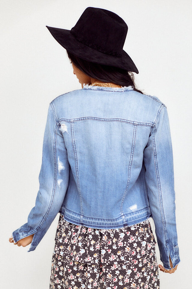 Jackson Collarless Distressed Denim Jacket