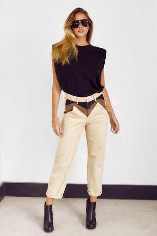 PreOrdrer Frances Colorblock Twill Straight Leg Pant